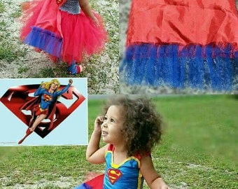 Supergirl superman baby girl toddler tutu dress costume red tulle cape embroidery logo handmade satin fabric Halloween
