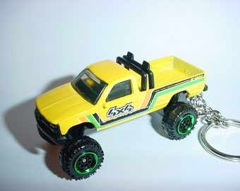 3D 1997 Chevrolet K-1500 truck custom keychain by Brian Thornton keyring key chain finished in yellow racing trim