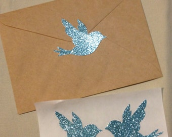 Large Blue Glitter Bird Seals - Envelope Seals Dove Seals Stickers - Wedding Event Swallow Dove Seals Love Birds