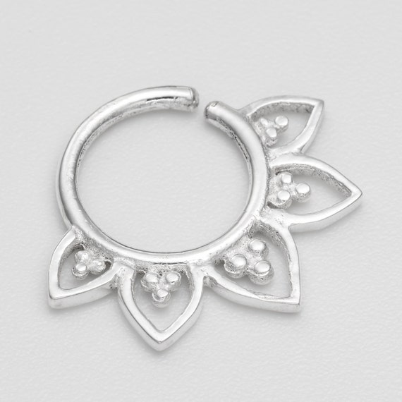 18g Tribal Septum Ring for pierced nose. septum piercing. silver septum ring. septum ring. tribal septum.tribal jewelry. nose jewelry.