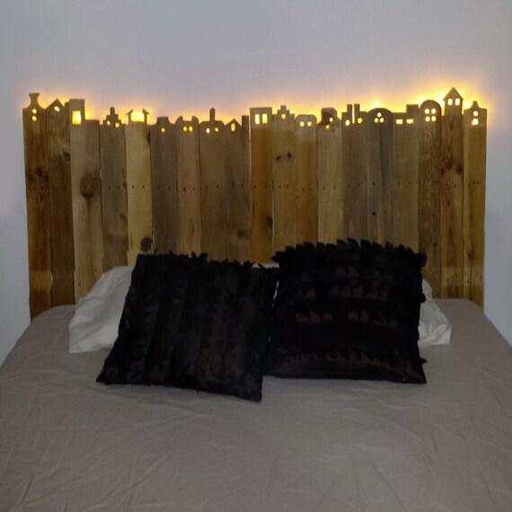 Bed headboard skyline - Cabecera de cama reciclada ...