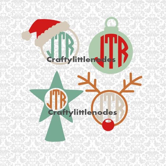 Christmas Monograms Rudolf Ornament Santa Hat Frames SVG STUDIO Ai EPS Scalable Vector Instant Download Commercial use Cutting File Cricut