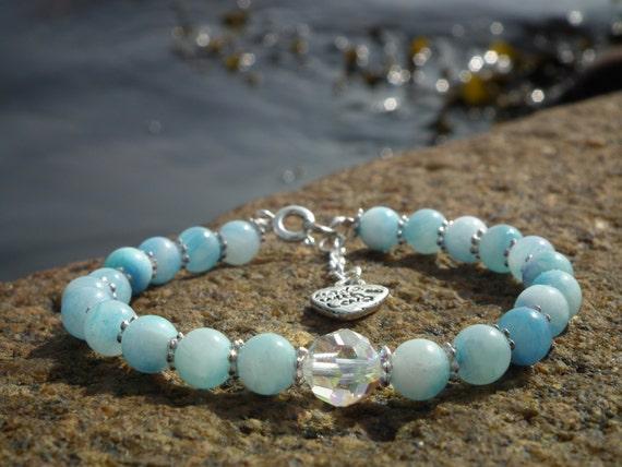 Blue Mountain Jade & Swarovski bracelet