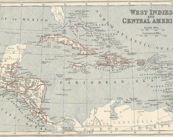 vintage  map 1873 west indies and central america.