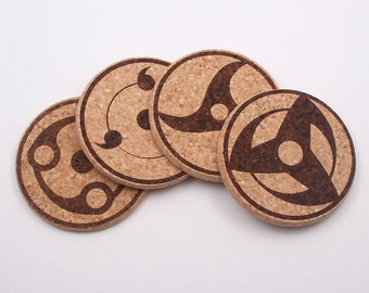 Naruto Shippuden Sharingan Laser Etched Cork Coaster - Set of 4