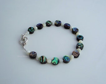 Abalone shell and mother of pearl bracelet