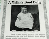 1906 Little Boy Advertisement,  Wonderful Ephemera, Baby Boy for Mellin's Baby Food, Sweet Baby Boy  #374 ok