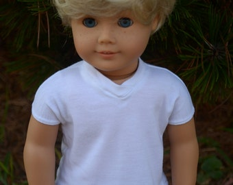 White vneck tee shirt for 18 inch dolls (like American Girl) boy doll clothes