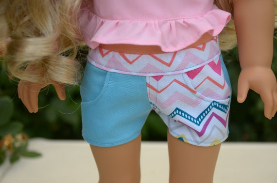 Blue and chevron denim shorts for 18 inch dolls like the American Girl Doll