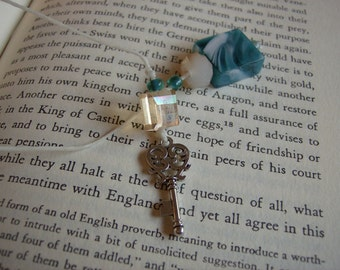 Silver Key Charm Book Thong Bookmark - Paperbacks