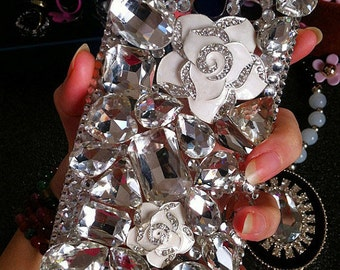 New Bling White Camellia Flowers Clear Sparkles Charms Crystals Rhinestones Diamonds Gems Fashion Lovely Hard Cover Case for Mobile Phones