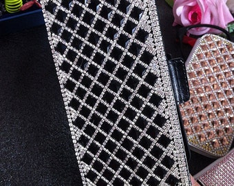 New Luxury Bling Flip Slot Cards Holder Lovely Black Gems Wallet Leather Crystals Rhinestones Diamonds Fashion Cover Case for Mobile Phones