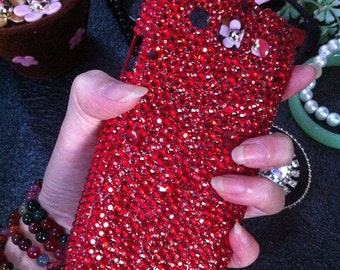 Bling Stylish Charms Sparkles Luxury Girly Red Gems Crystals Rhinestones Diamonds Jewelled Fashion Lovely Hard Cover Case for Mobile Phone