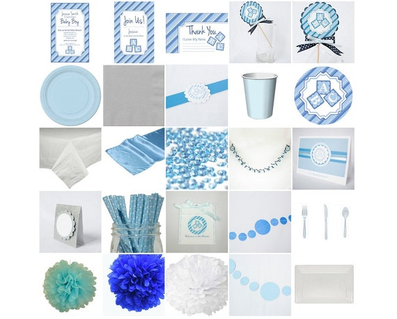 baby blue standard baby shower in a box invitation decoration