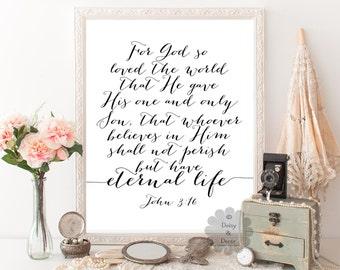 John 3:16 For God so loved the world Bible verse Scripture print typography poster art print wall decor office print modern art wall