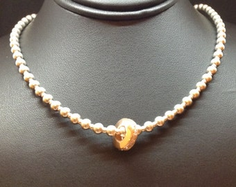 Sterling silver necklace with a rose gold Crystal slide