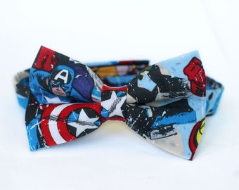 Captain America Bow Tie | Superhero | Marvel | Boys Bow Tie | Mens Bow Tie | Dog Bow Tie | Self Tie | Pre-tied | Gifts for Him
