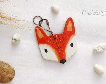 Fox hand painted wood key chain or mini wall hanging ,ornament