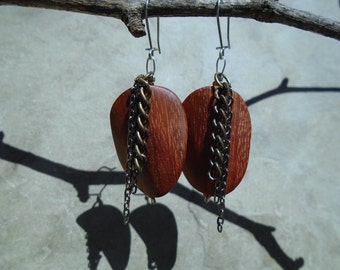 Bayong wood and chains earrings