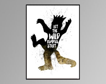 "The film ""Where the wild things are""   ""Let the wild rumpus start"" Wall art. Room Decor Black and White Watercolor art A003"