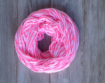 Striped Infinity Scarf - Hot Pink - Florescent Pink and White
