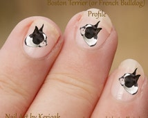 Boston Terrier Profile Nail Art Stickers, Boston Terrier Decals,  dog decals, French Bulldog, fun to use, great gift