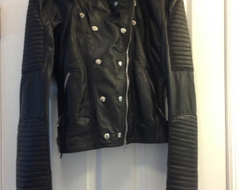 SALE: Black leather jacket, women's small