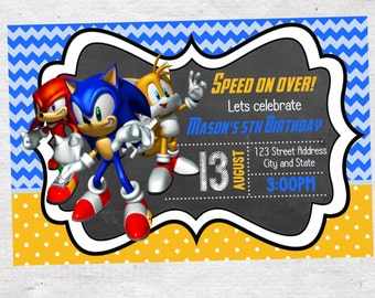 Sonic the Hedgehog Birthday invite,Sonic the Hedgehog invite,JPG file,Invite,Birthday Invite,Sonic the Hedgehog, Birthday Invitation