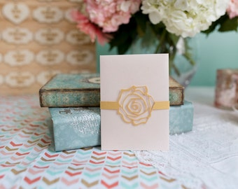 Wedding Invitation Belly Band - Set of 10 - Gold Rose