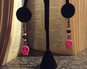 Beaded Pink Skull Earrings