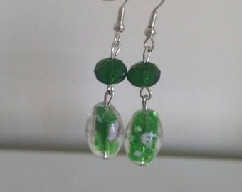 Green earrings with lamp work beads
