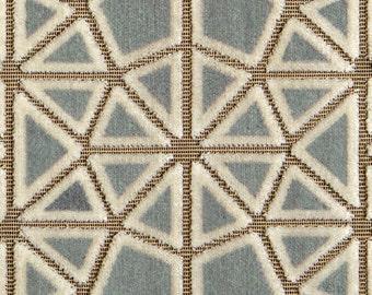 POLLACK CROSSCUT Plush Cut Velvet UPHOLSTERY Fabric 5 Yards Cracked Ice Blue
