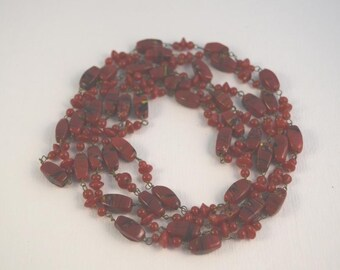 Red jasper varied bead necklace 50""