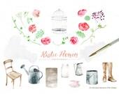 Rustic Peonies. Wedding Flowers. Watercolor flowers. DIY Botanical Invites. Shabby Chic Vintage. Printable Peony Clipart