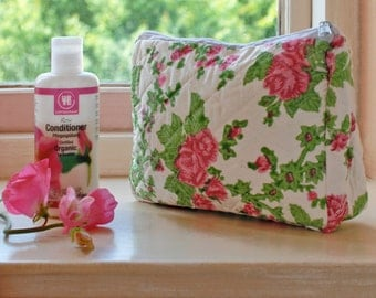 Pink Rose Wash Bag Hand Block Printed on Organic Cotton