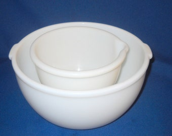 Set of Two (2) White Glass Mixing Bowls, Very Heavy Glass, Vintage