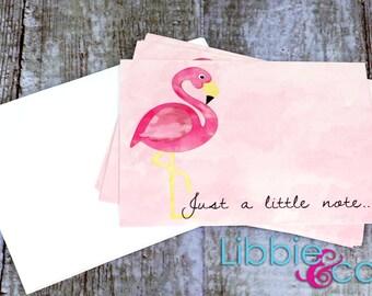 Flamingos - Set of 5 Flat Notecards
