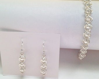 Hand Made Chainmail Caged Pearl Bracelet and Earring Set