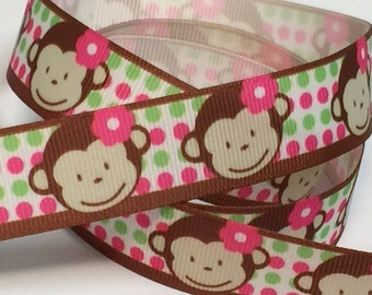 7/8 inch Cute Monkey Pink and Green Polka dots Brown Border - Printed Grosgrain Ribbon for Hair Bow