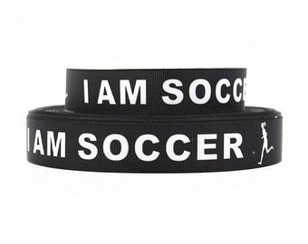 7/8 inch I am Soccer - White on Black Soccer Balls - SPORTS Printed Grosgrain Ribbon for Hair Bow