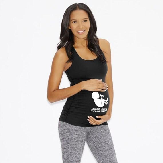 Workout Buddy Tank. Maternity Shirt. Baby Announcement Tank. Custom Maternity Shirt. New Mom. Baby Shower. Baby Bump. Fitness Racerback.