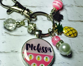 Pineapple personalised keyring, Pineapple personalised keychain, personalised name keyring, pink pineapple keyring