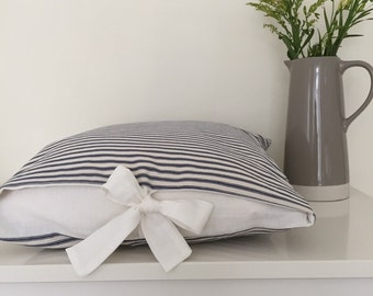 "Chic striped cotton ticking, peep tie cushion, 18"""