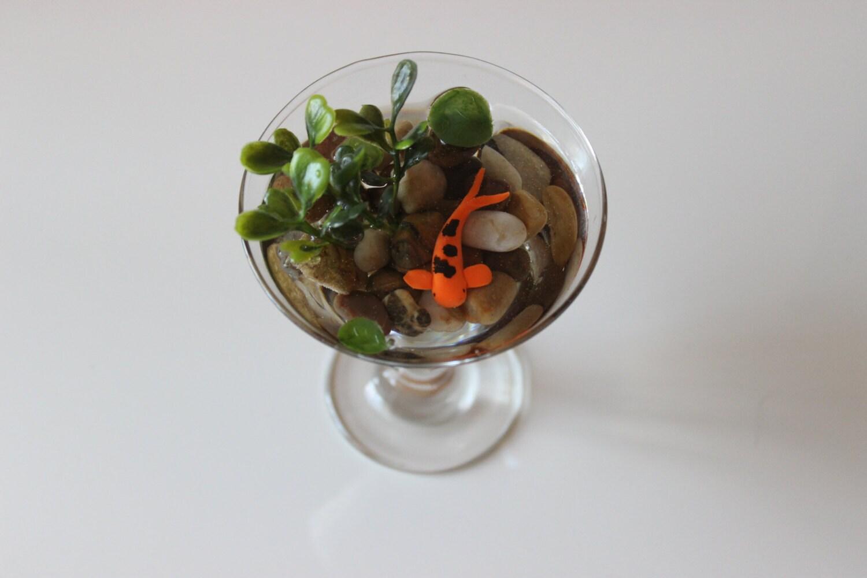 Miniature koi pond in martini glass fake koi pond polymer for Artificial koi fish