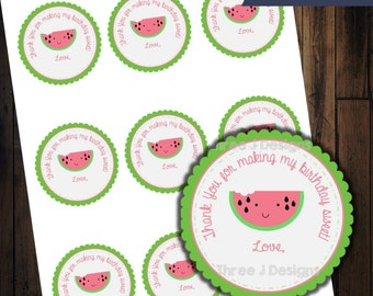 Watermelon Birthday Party Goodie Bag Favor Tags - INSTANT DOWNLOAD