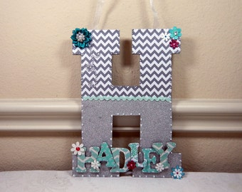 Custom Nursery Letters, Nursery Art, Baby Nursery Decor, Girl Nursery Decor, Custom Wood Letters, Hanging Nursery Art, New Baby Gift, Teal