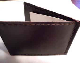 Leather Handmade Minimalist Flatest Money Clip Wallet Billfold Money Credit Cards ID