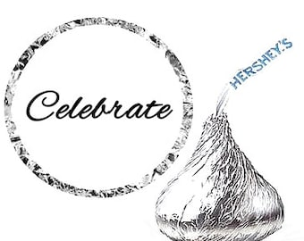 Celebrate Party Favor Hershey's Kisses Stickers / Labels -216ct
