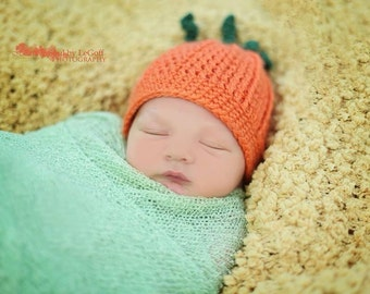 Pumpkin Hat - Crochet Pumpkin hat available in all sizes Newborn-Adult - Fall photography prop - Pumpkin Beanie