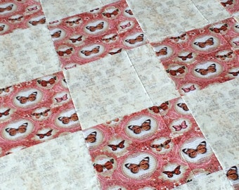 Butterflies, Pink and Beige Quilt, Ready to Ship